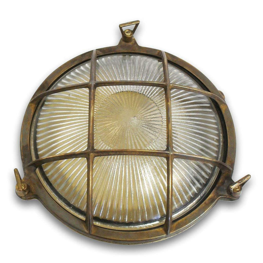 Solid Antique Brass Porthole Bulkhead Small exterior outside light with LED lamp