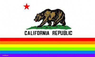 3'x5' CALIFORNIA GAY PRIDE FLAG RAINBOW BANNER USA CA GLBT LESBIAN BISEXUAL 3X5