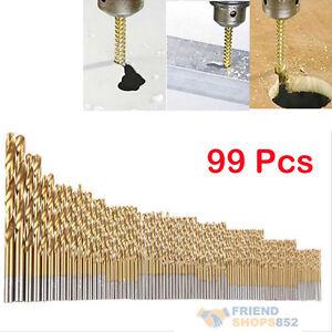 99Pcs Manual Titanium Coated HSS High Speed Steel Drill Bits Tool Set 1.5-10mm