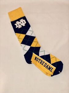 Notre-Dame-Fighting-Irish-Argyle-Crew-Dress-Socks-One-Sits-Fits-Most-Free-Ship