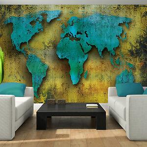 Tessuto non tessuto Poster Parete Immagine Carta da parati carta da parati Mappa del mondo Blu Arancione Marrone 3fx2893ve  </span>