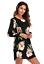Womens-Flower-Print-long-Sleeve-Top-Blouse-mini-dress-Casual thumbnail 2