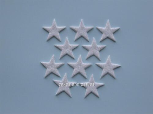 CAKE DECORATIONS LARGE 4cm 10 X EDIBLE HOLOGRAM WHITE GLITTER STARS