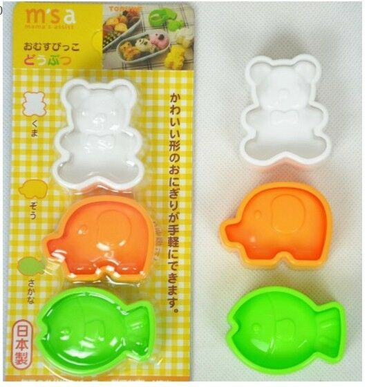 Japan Bear/Elephant/Fish Emoticon Cutter Sushi Rice Ball Bento Mold tool