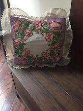 "Vintage Floral Needlepoint Pillow Purple Corduroy 14"" X 12"" + 2"" Ruffle Flowers"