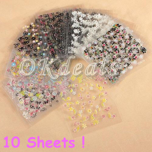 Lots Decal Stickers DIY 10 Sheets 3D Nail Art Manicure Tips Decoration Transfer