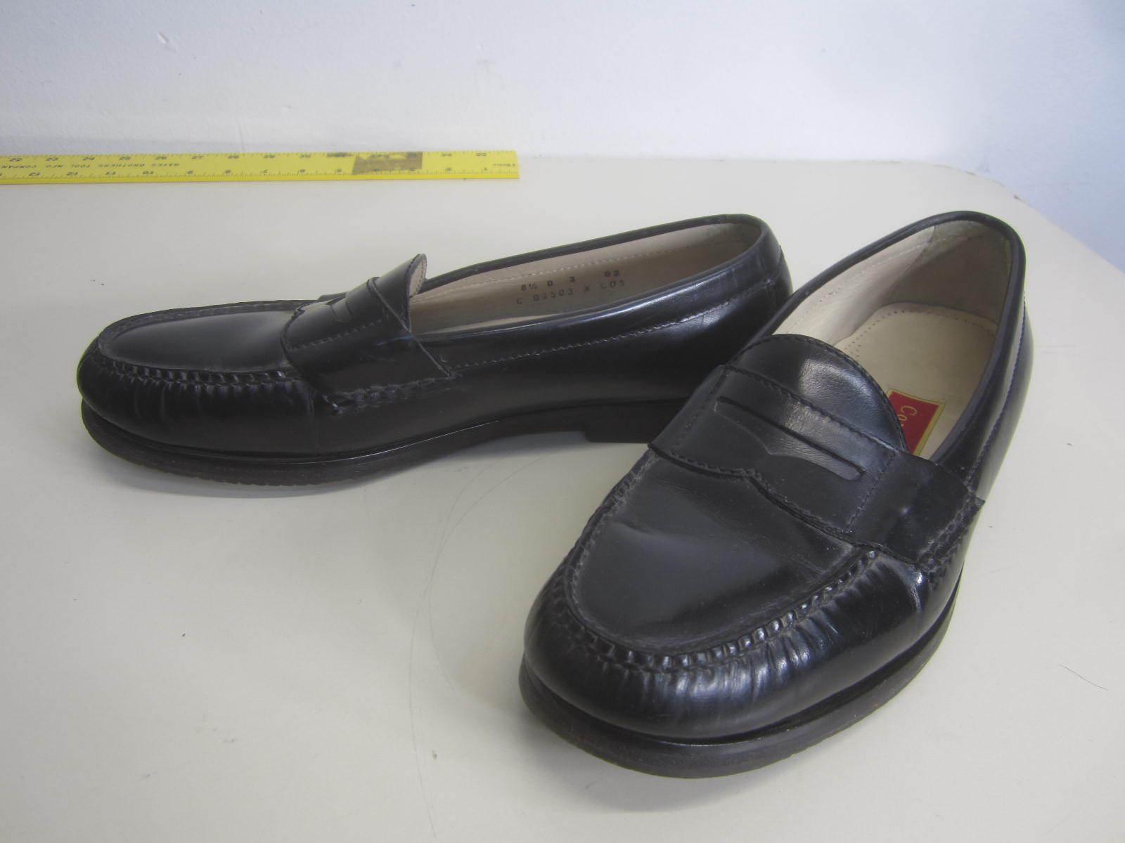 Vtg Cole Haan Penny Loafers Slip On Dress shoes black leather sz 8.5 D