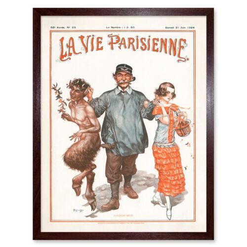 La Vie Parisienne castigando Fauno Niña portada de la revista enmarcado impresión de arte de Pared 9X7