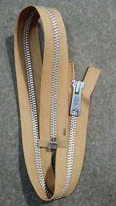 "VTG NOS LONG TAB-Jacket Zipper 1x YKK #8 Separating Metal Aluminum 24""CAMEL-GOLD"