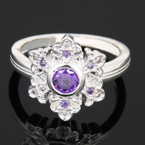 Women Fashion 925 Silver Amethyst topaz Ring Jewelry size 6-10
