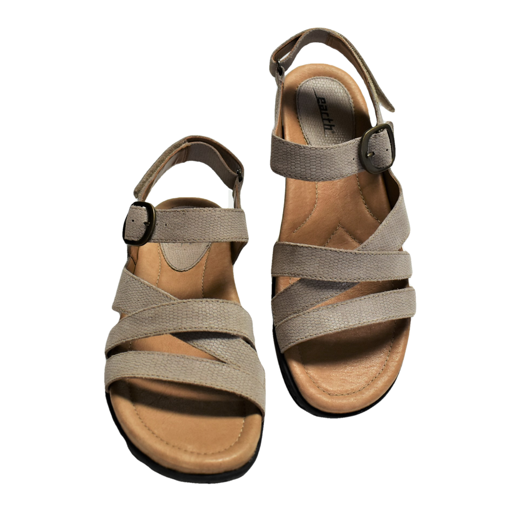 NEW Earth Aster Women 8.5 39.5 M Slingback Sandal Taupe Leather Hook Loop Buckle