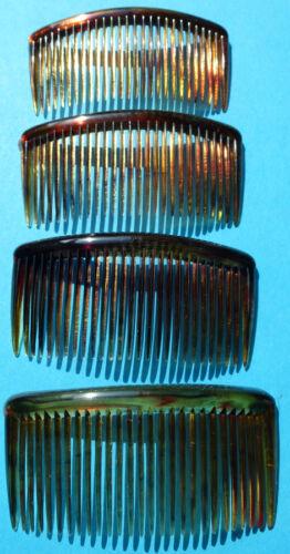 """4 Vintage Capelli Pettini 2.5""""/55mm delicato Tartaruga colore"""