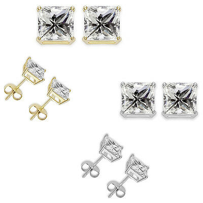 Princess Cut Square CZ Sterling Silver Stud Earring Gold Plated April Birthstone