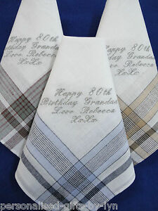 Personalised Mens//Gentlemans 100/% Cotton Hankie//Handkerchief choice of colours