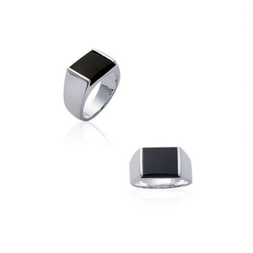 Knight Ring Square Man Silver Onyx New of Your Choice