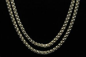 10k Hollow Yellow Gold Box Byzantine Link Chain Necklace