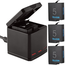 TELESIN Battery + 3 Slots Charger Charging Box For GoPro Hero 7 6 5 Black 2018