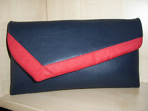 EXTRA LARGE NAVY BLUE RED /& WHITE asymmetrical faux  leather clutch bag BN