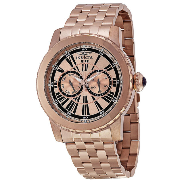 Invicta Specialty Multi-Function Rose Dial Rose Gold Ion-plated Mens Watch 14590
