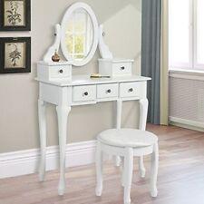 Vanity Table Jewelry Makeup Desk Dresser w/ Stool 5 Drawer Wood Gift White/Black