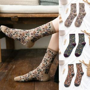Ladies-Women-Winter-Warm-Soft-Retro-Floral-Flower-Socks-Vintage-Cotton-Socks