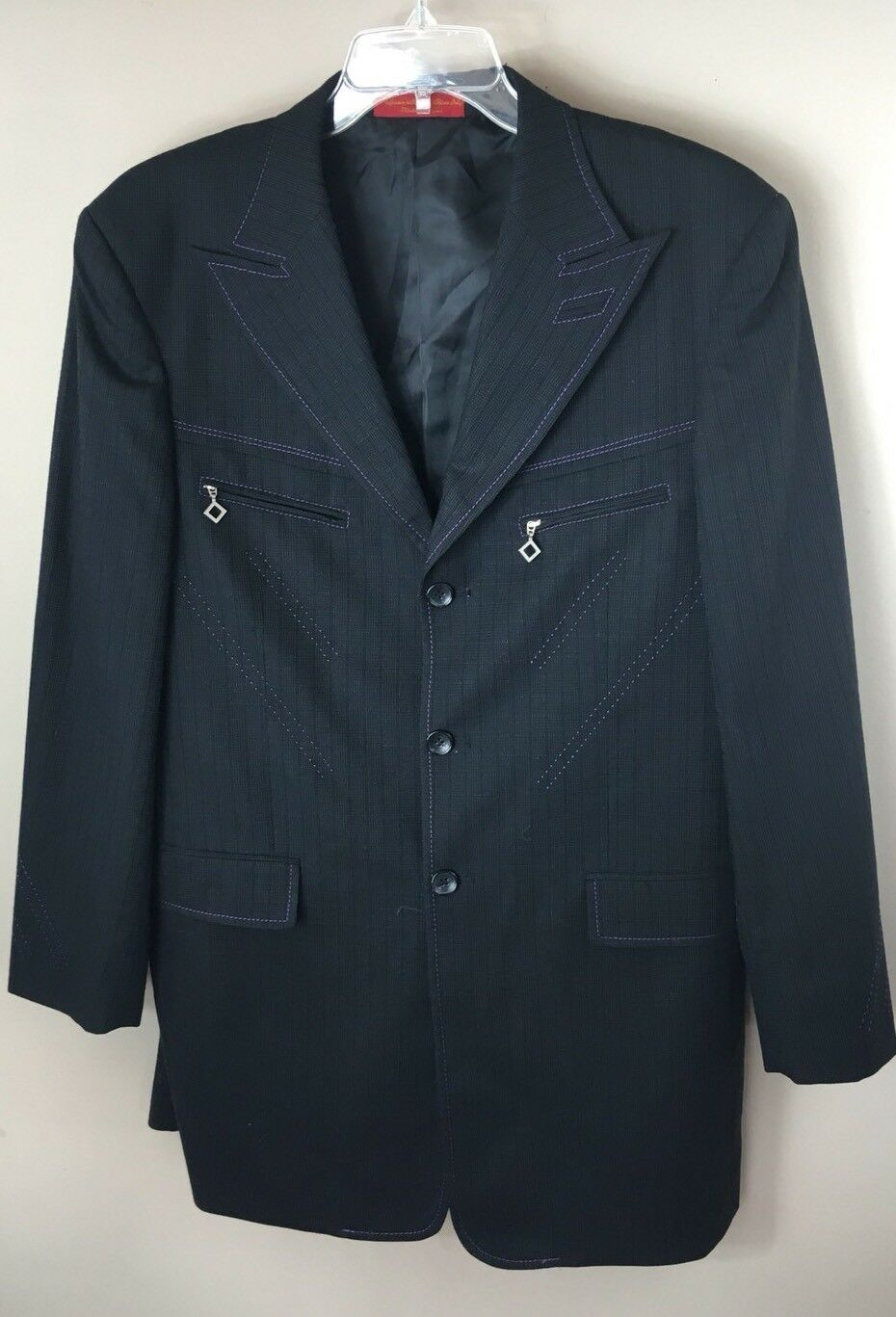 42 R LORIANO COLLECTION 3 PIECE Men's Suit  80%WOOL, 20% CASHMERE Super 150's