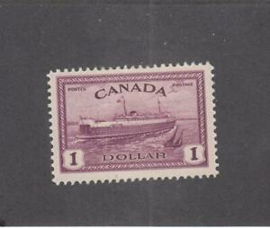 CANADA (MK3717) # 273 VF-MNH $1 PEI TRAIN FERRY /1946 / RED VIOLET CAT VALUE $83