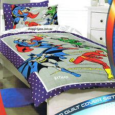 Justice League Batman Superman grey - Single/US Twin Bed Quilt Doona Duvet Cover