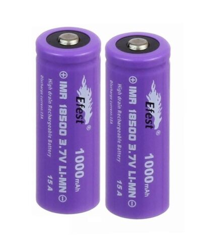 2 Efest 18500 1000mah 3.7V 15A Rechargeable Battery High Drain Button Top Purple
