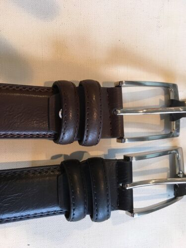 Men/'s Pebble Grain Feather Edge  Belts Available In Black Or Brown Or 2 Pack !