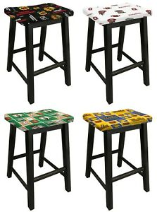 Details About Black Finish Wood Bar Stool In 24 Or 29 Tall With Sports Team Logo Fabric Seat