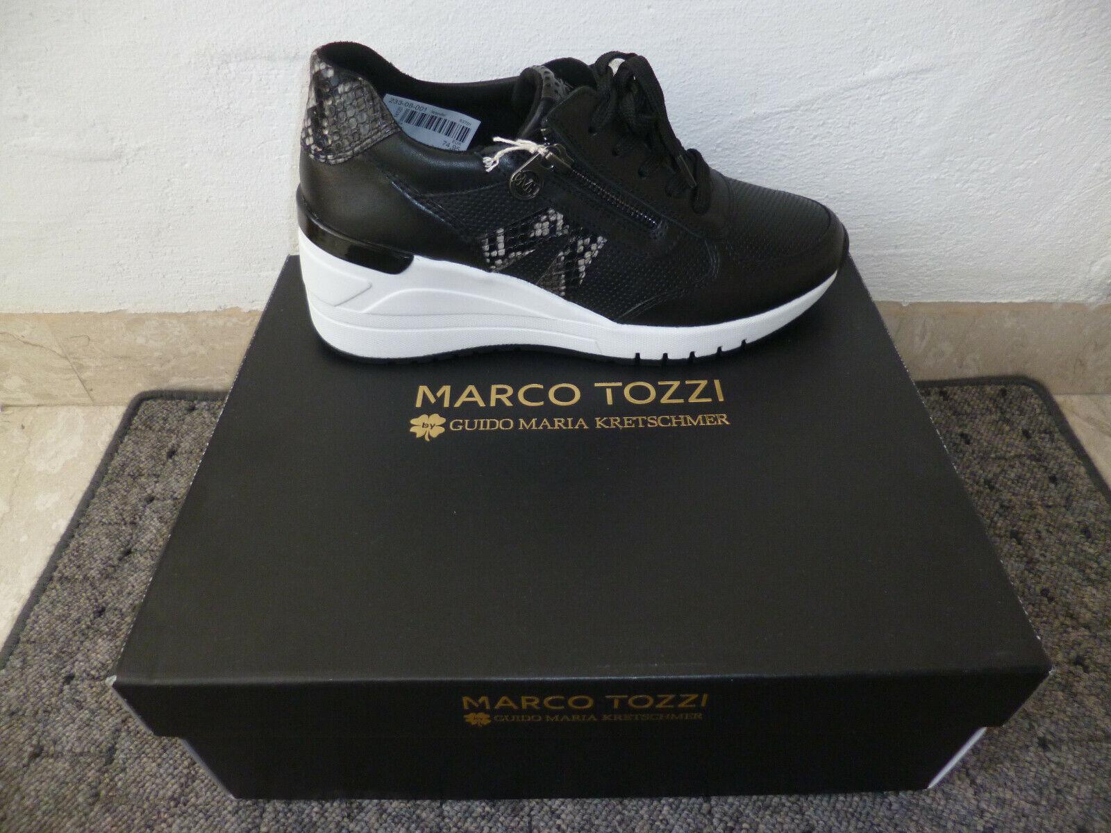 Marco Tozzi Baskets Chaussures Plates à Lacets Mocassins Noir Neuf
