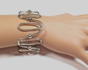 Rare-Tiffany-amp-Co-Spiral-Oval-Link-Wide-Bangle-Bracelet-Sterling-Silver-Pouch