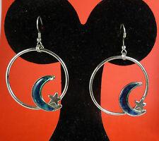 Vintage Rainbow New Zealand Paua Abalone Shell Moon & Star on Hoop Earrings 4g
