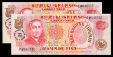 ABL 50 Pesos 100 Yrs SERGIO OSMENA BIRTH CENTENARY Ovpt, 2 Consecutive Banknote