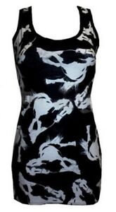 LADIES-BLACK-amp-WHITE-HORSES-CUTE-ANIMAL-PRINT-LONG-VEST-TOP-DRESS-GOTH-PUNK-EMO
