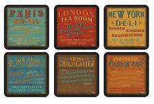 Pimpernel Lunchtime Coasters Set of 6 Retro Signs Design Drink Mat Boxed Gift