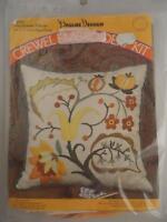 Vintage 1971 Sealed Pauline Denham Crewel Embroidery Kit Jacobean Pillow Linen