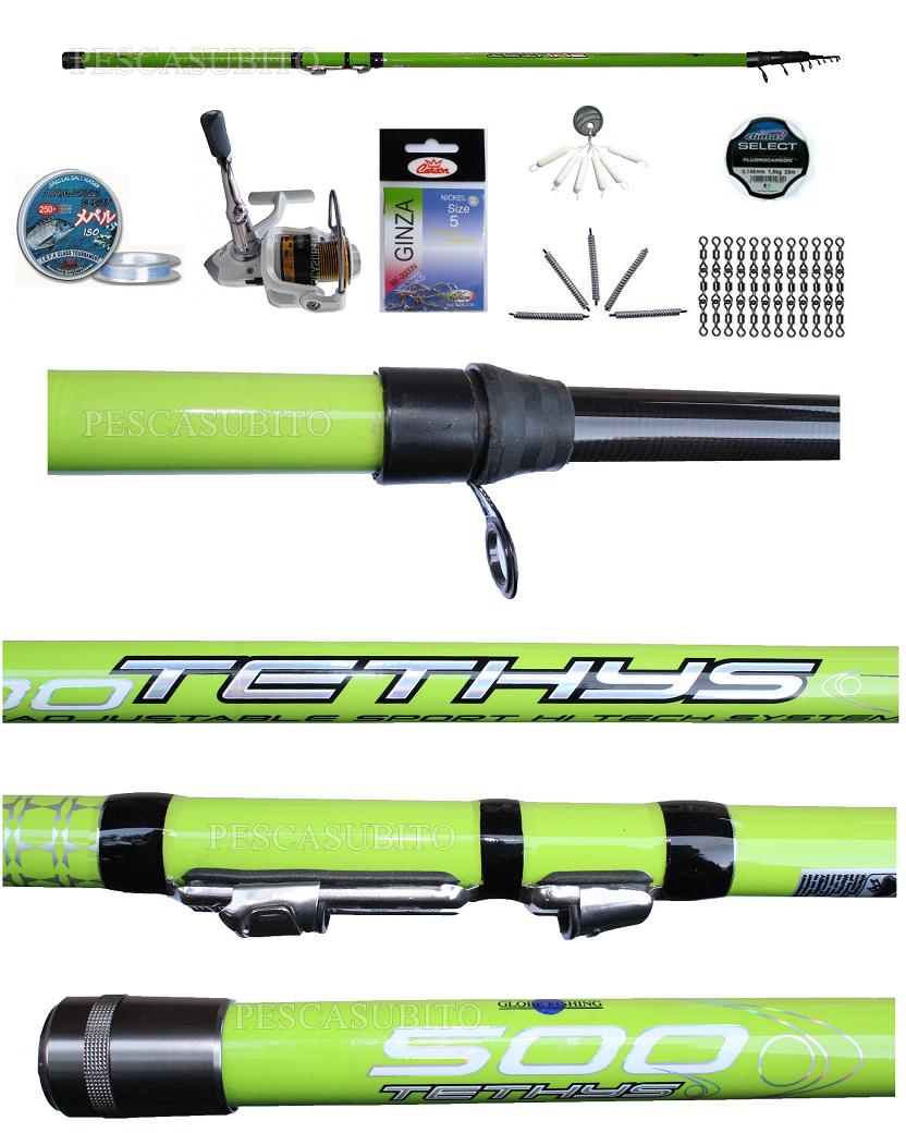 Kit Pesca Trossoa Torrente Canna Teleregolabile Tethys 6Mt Mulinello accessori EH