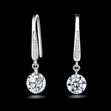 Fashion Fraue Schmuck Silber Plated Kristall Hoop Dangle Ohrring Stud Geschenk