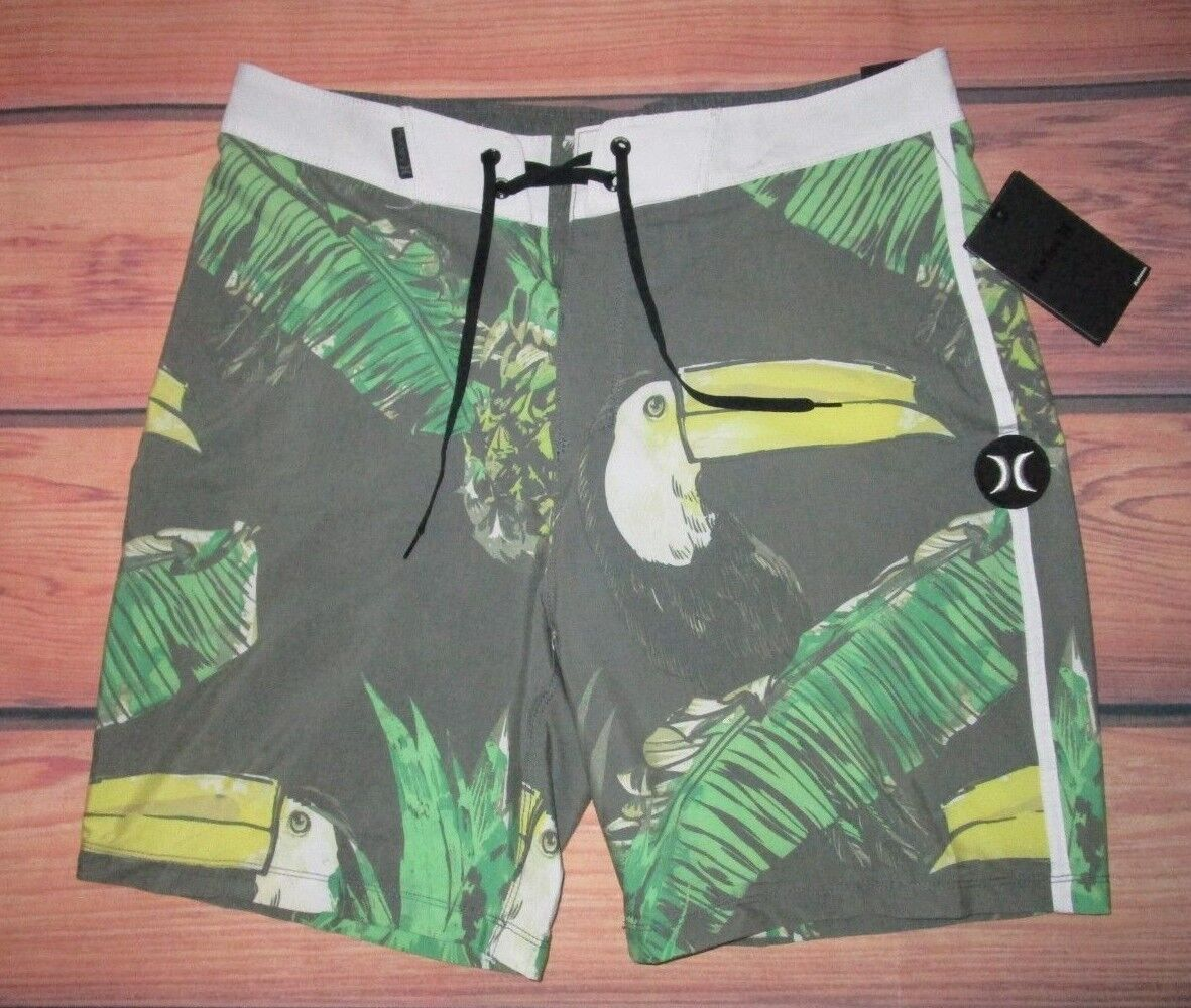 MENS HURLEY TOUCAN TROPICAL SWIM BOARD SHORTS SIZE 40