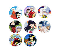 Set Of 8 Anime Inuyasha 1 Pins Button Magnets Kagome Sesshomaru