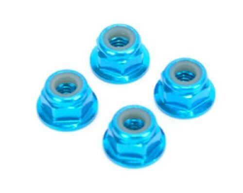 RC Car Wheel nuts M4 nylock Anodised blue X4 4mm  car buggy Tamiya Traxxas