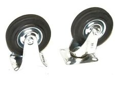 4pc 6 Caster Wheels 2 Swivel Base With Bearings 2 Fixed Base Hard Rubber Wheels