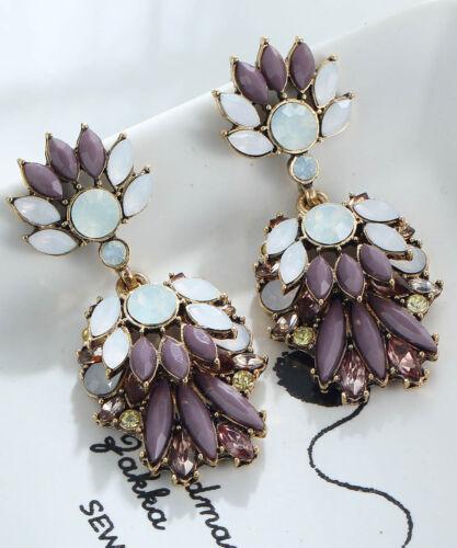 1 Paire Élégant Violet cristal Strass Ear Drop Dangle Stud Long Boucles D/'oreilles 86