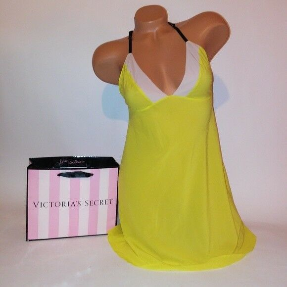 Victoria Secret Lingerie Chemise Slip Babydoll Teddy Yellow Medium Sheer