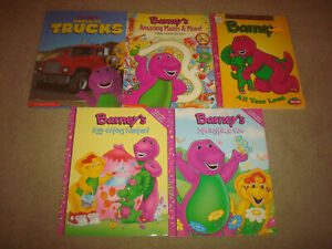 Vintage Barney Coloring Activity Book Lot Kids Scholastic World Of Trucks Mazes Ebay