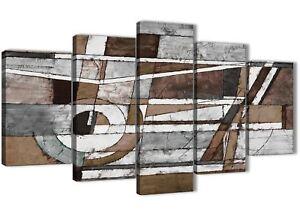 Détails sur 5 Pièce Marron Beige Blanc Peinture Abstrait Chambre à Coucher  Toile Art - 5407 - 160 cm- afficher le titre d\'origine