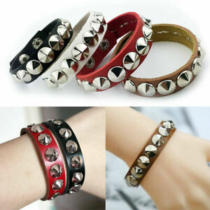Women-Men-Bracelet-Metal-Stud-Rivet-Wristband-Faux-Leather-Cuff-Punk-Bangle-Gift