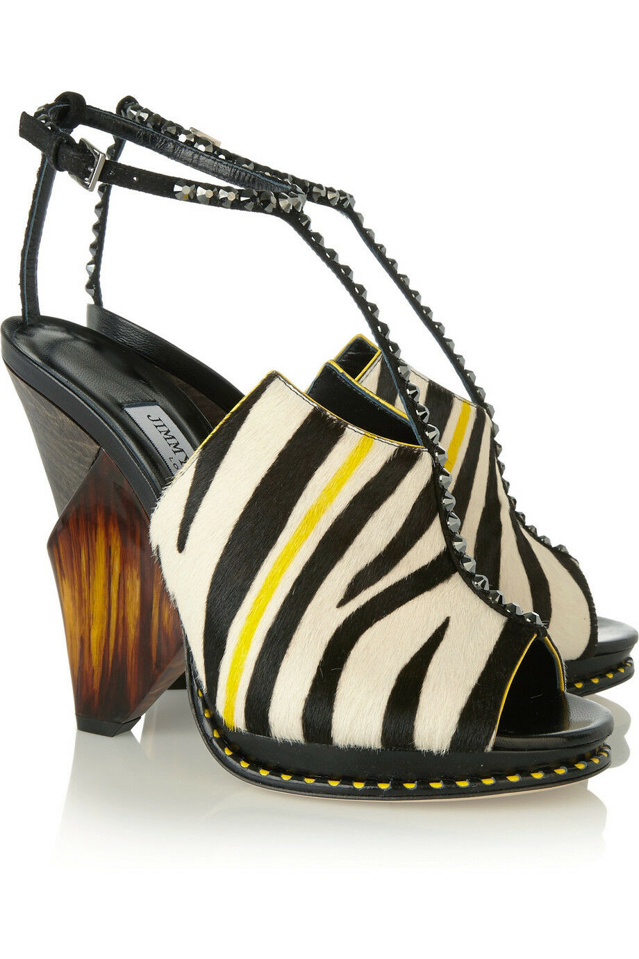 AUTH NIB JIMMY JIMMY JIMMY CHOO Kascade calf hair and leather Zebra T-bar sandals Sz 36.5 f99f75